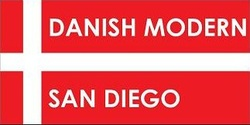 Danish Modern San Diego logo of red and white flag of Denmark with overlay white text spelling out company name.