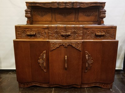 Carved English oak court cupboard,