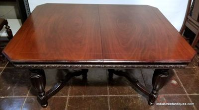 "1920s American Spanish Revival dining table has four leaves that extend the table to over 90"" in length. Table is sold with the dining chairs pictured at left."